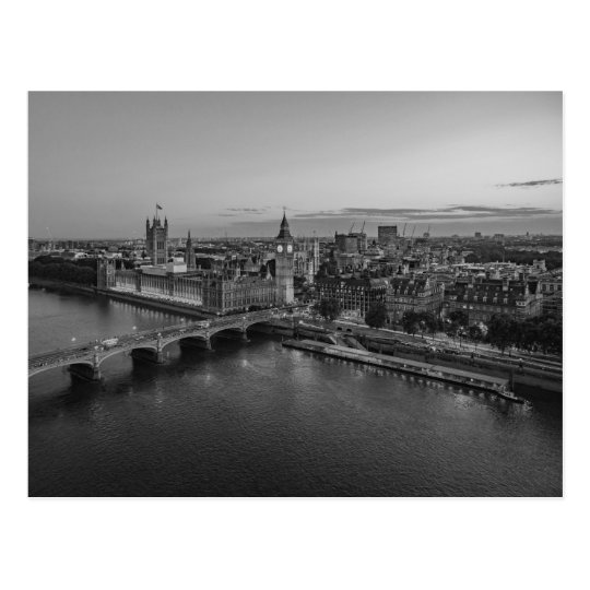 Black and White London Aerial View at Sunset