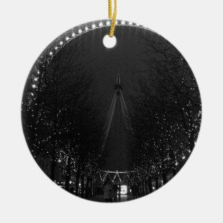 Black and white London eye Round Ceramic Decoration