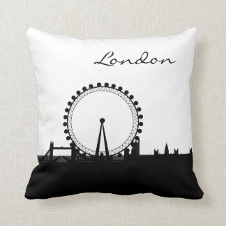 Black and White London Landmark Cushion