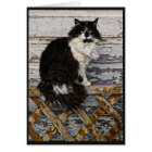 Black and White Long Hair Tuxedo Cat on Fence Card