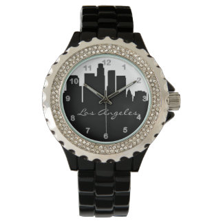 Black and White Los Angeles Skyline Wrist Watches