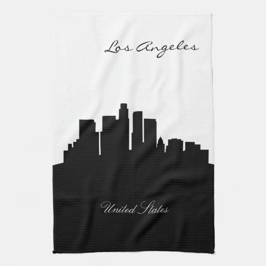 Black and White Los Angeles Skyline Tea Towel