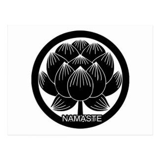 Black and White Lotus Namaste Postcard