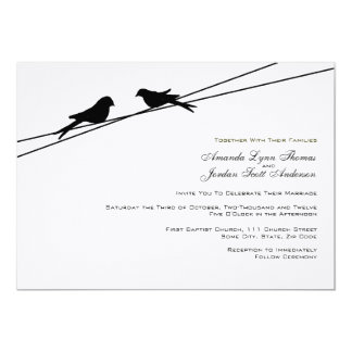 Black and White Love Birds on a Wire 13 Cm X 18 Cm Invitation Card