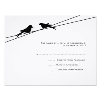 Black and White Love Birds on a Wire RSVP 11 Cm X 14 Cm Invitation Card