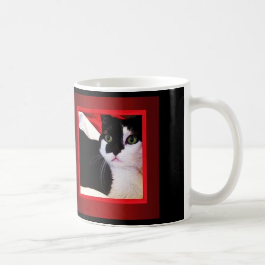 Black and White Love Cat on Red Mug