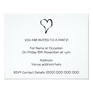 Black and White Love Heart Design. 11 Cm X 14 Cm Invitation Card