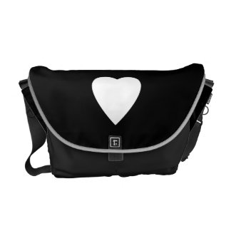 Black and White Love Heart Design. Commuter Bags
