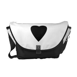 Black and White Love Heart Design. Courier Bag