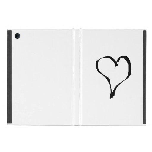 Black and White Love Heart Design. iPad Mini Cover