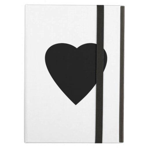 Black and White Love Heart Design. iPad Folio Cases