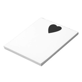 Black and White Love Heart Design. Notepad