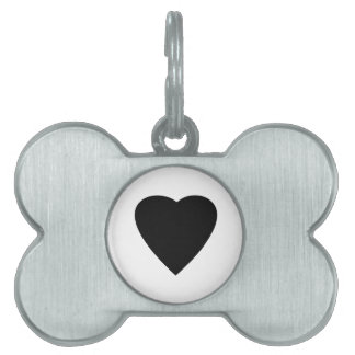 Black and White Love Heart Design. Pet ID Tag
