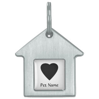 Black and White Love Heart Design. Pet Name Tag
