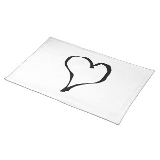 Black and White Love Heart Design. Place Mats