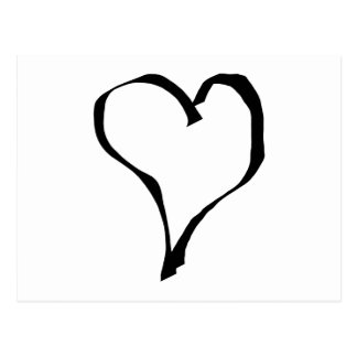 Black and White Love Heart Design. Postcard