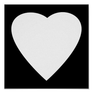Black and White Love Heart Design. Poster