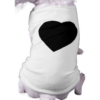 Black and White Love Heart Design. Sleeveless Dog Shirt