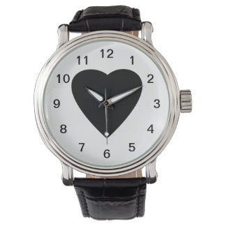 Black and White Love Heart Design. Watch