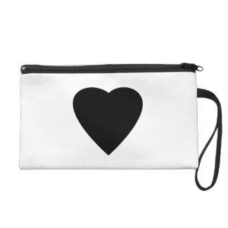 Black and White Love Heart Design. Wristlet