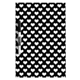 Black And White Love Hearts Dry Erase Board