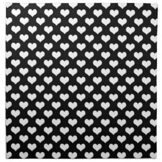 Black And White Love Hearts Napkin