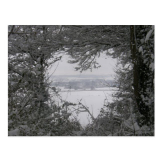 Black and White Love Snow Heart Photo Christmas Postcard
