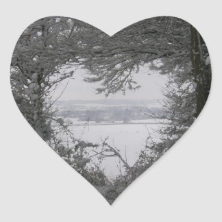 Black and White Love Snow Heart Photo Christmas Heart Sticker