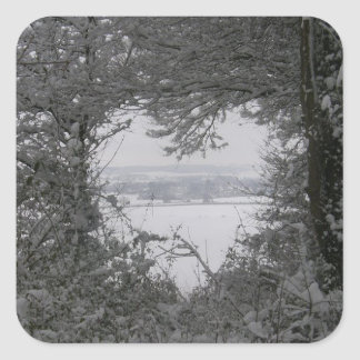 Black and White Love Snow Heart Photo Christmas Stickers