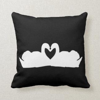 Black And White Love Swan Cushion