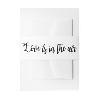 Black And White Love Wedding Party Typography Invitation Belly Band