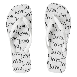 Black and White Love Word Pattern Flip Flops
