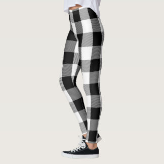 Black and White Lumberjack Flannel Plaid Pattern Leggings