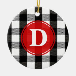 Black and White Lumberjack Plaid Monogram Christmas Ornament
