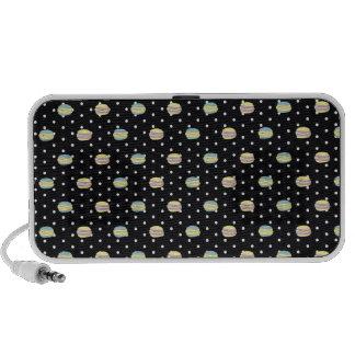 Black and White Macaron polkadot Laptop Speaker