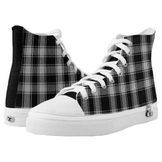 Black and White MacPhee Plaid High Tops Printed Shoes