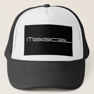 black and white-magical print trucker hat