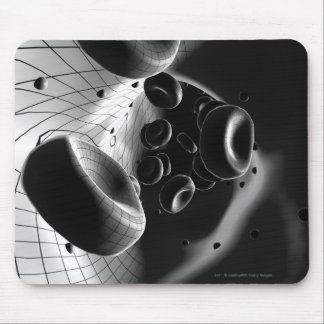 Black and white magnification of blood cells mouse mat