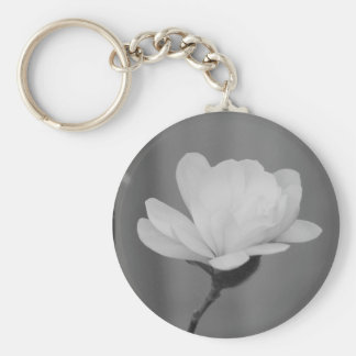 Black and White Magnolia Centennial Bloom Key Ring