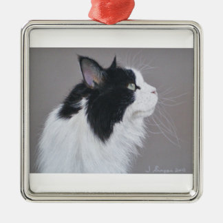 Black and White Maine Coon cat. Christmas Ornament