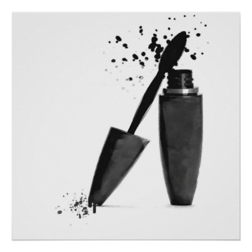 Black and white makeup beauty mascara fashion poster