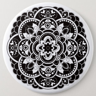Black and white mandala 6 cm round badge
