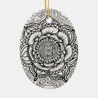 Black and White Mandala Christmas Ornament
