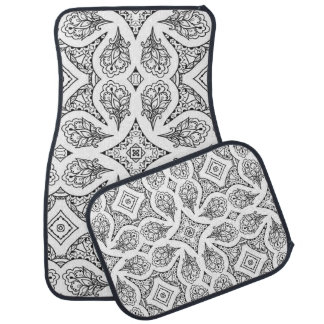 Black and White Mandala Design Car Mat