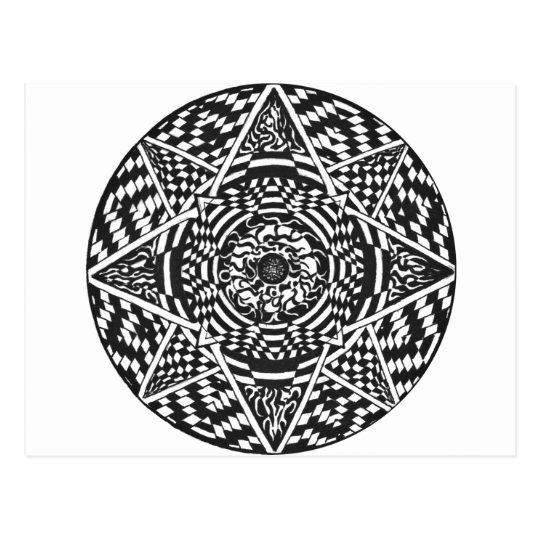 Black and white mandala design postcard
