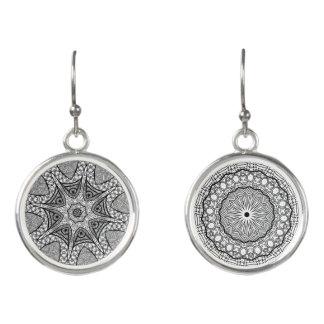 Black and White Mandala Earrings