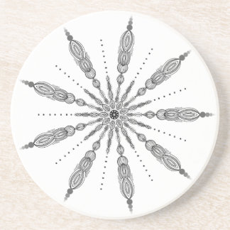 Black and White, Mandala, Line Drawing, Zen, Gray Coaster