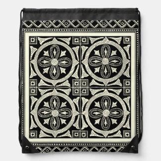 Black and White Mandala Motif by Vision Studio Drawstring Bag