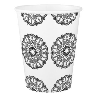 Black and White Mandala Mystical Party Paper Cups