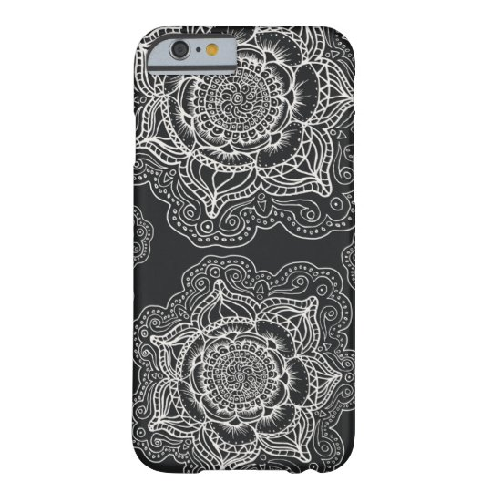 Black and White Mandala Pattern Barely There iPhone